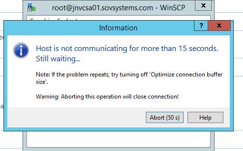WinSCP connection to VCSA failed:
