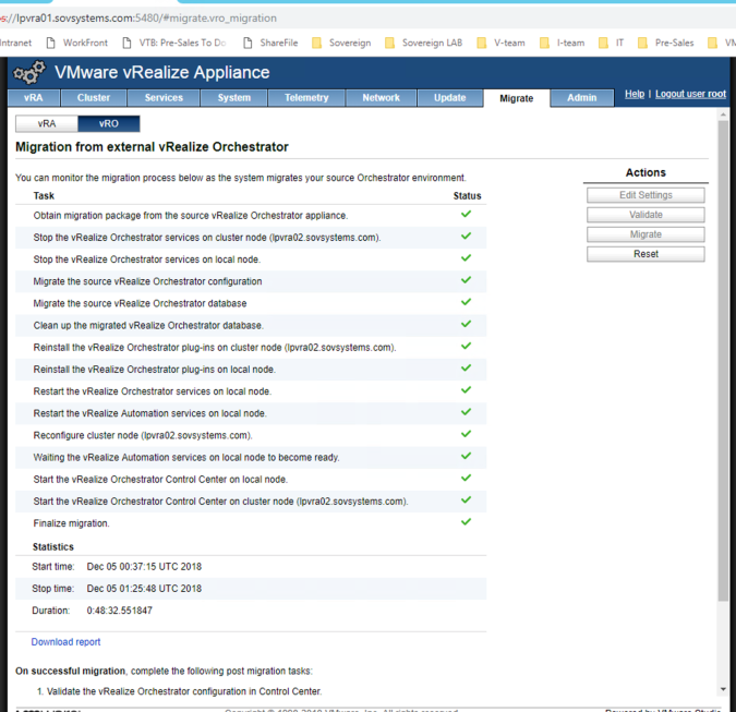 Upgrade VMware vRA to 7 5 and migrate external vRO to embedded vRO